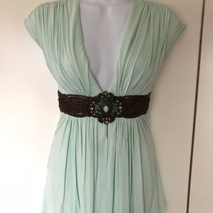 SKY Mint Embellished Crystal Leather Belt Knit Top